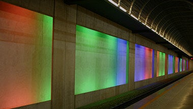 tunnel multicolored lights